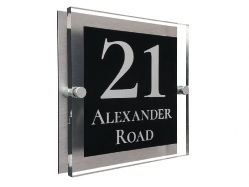 Block Shape - Clear Acrylic House Sign - Black Colour with White text in Font  2